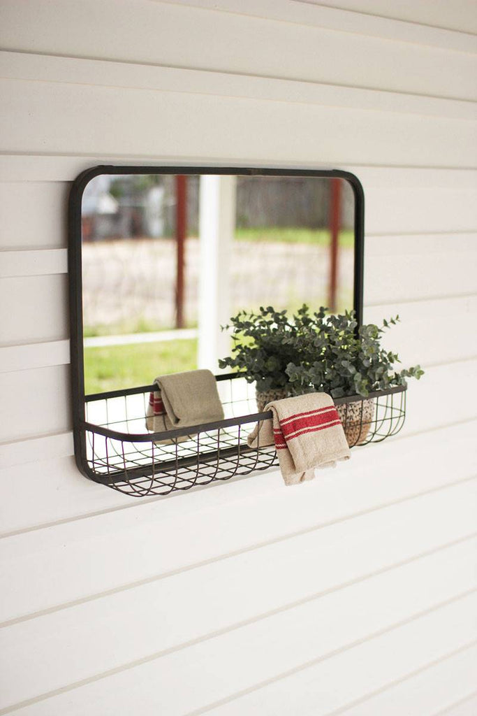 rectangular wall mirror with wire basket