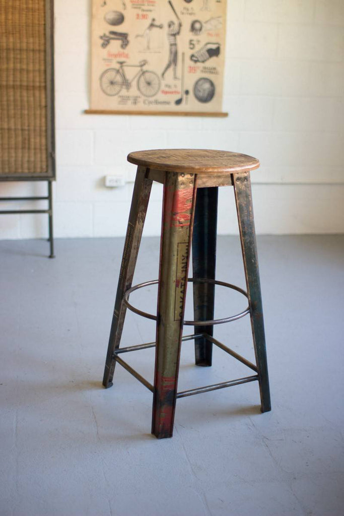 recycled metal bar stool with round wood top