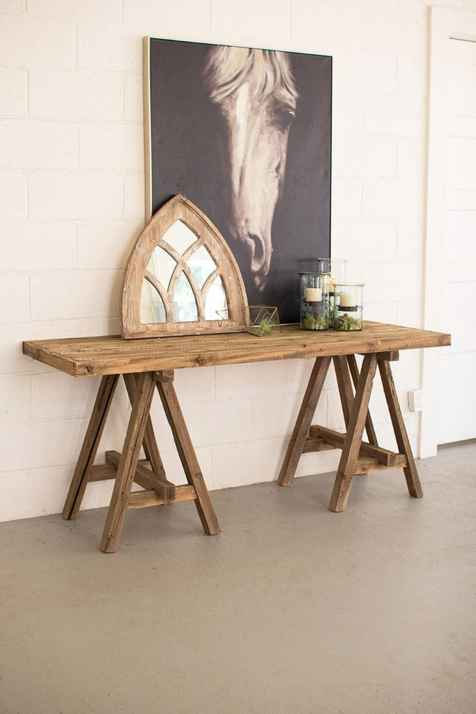 recycled wood console with saw horse base