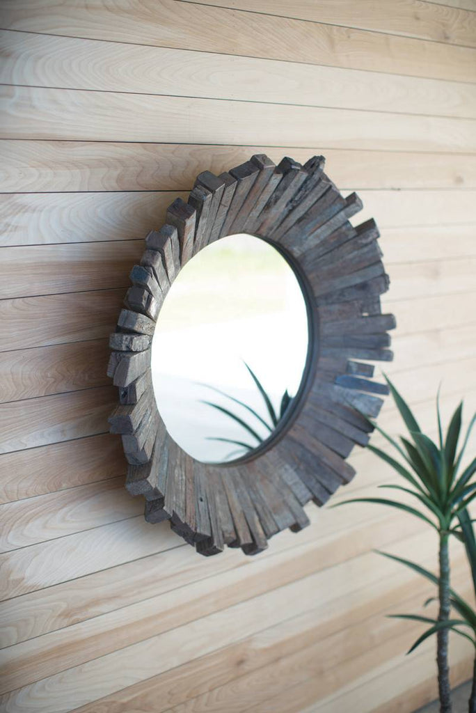 recycled wood mirror wall art