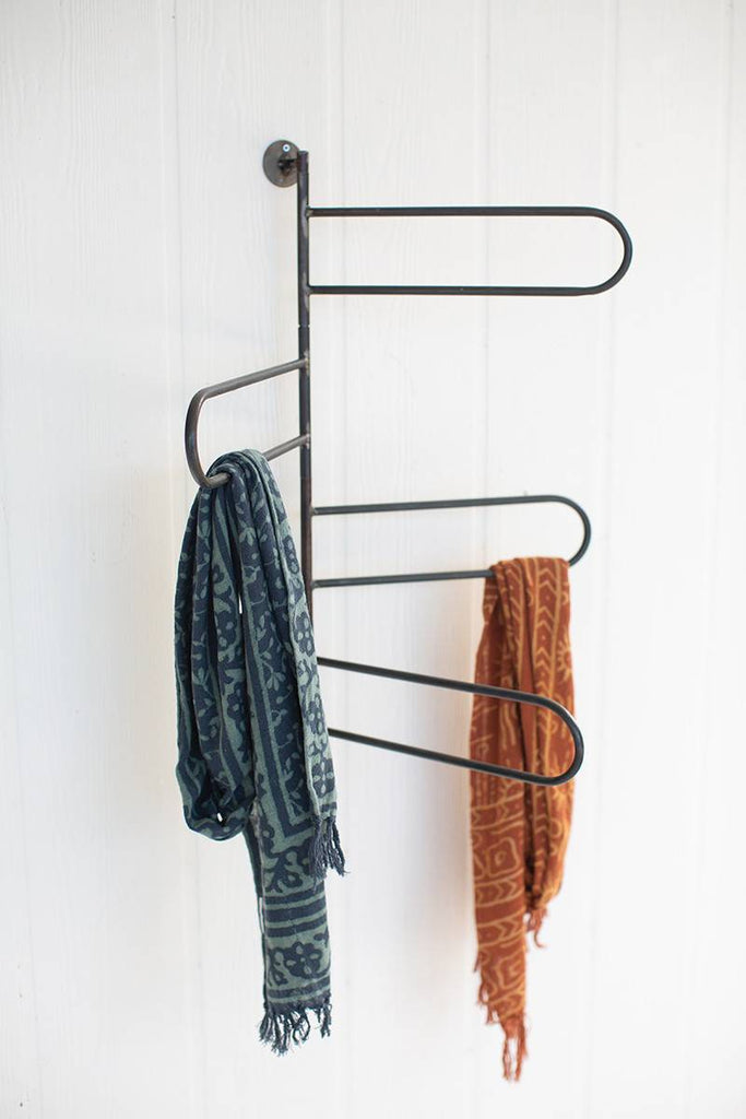 rotating wall mounted towel or scarf rack