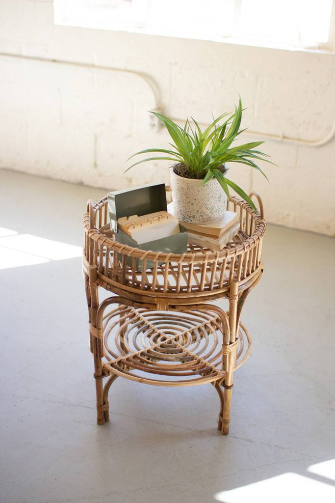 round cane side table with removable tray