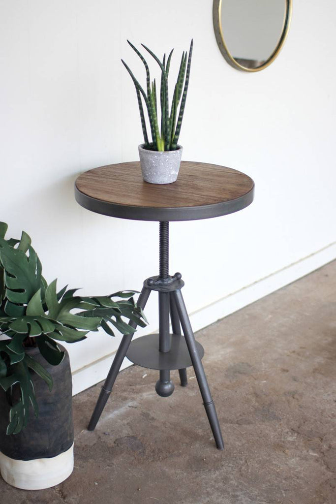 adjustable round wood and metal side table