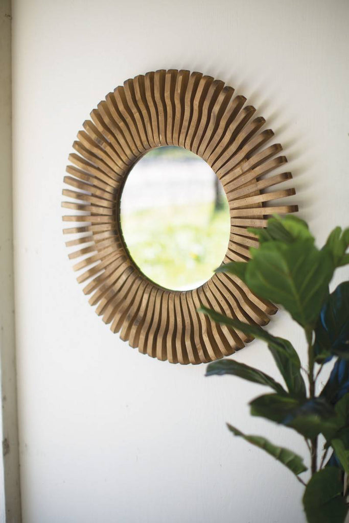 ancient sun design round wall mirror