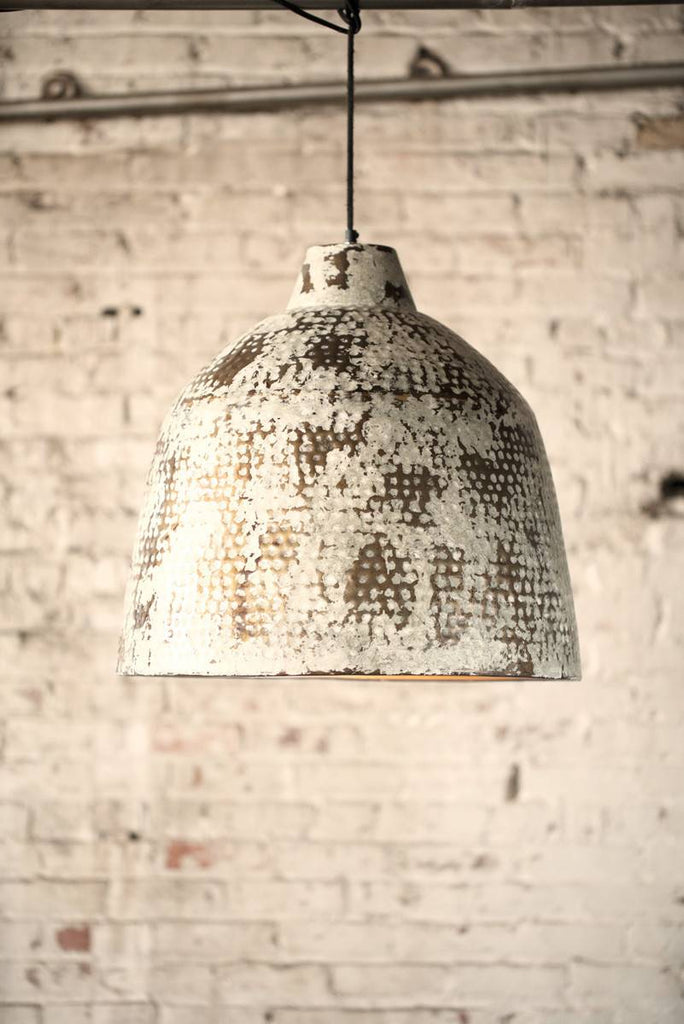 white spattered metal pendant light