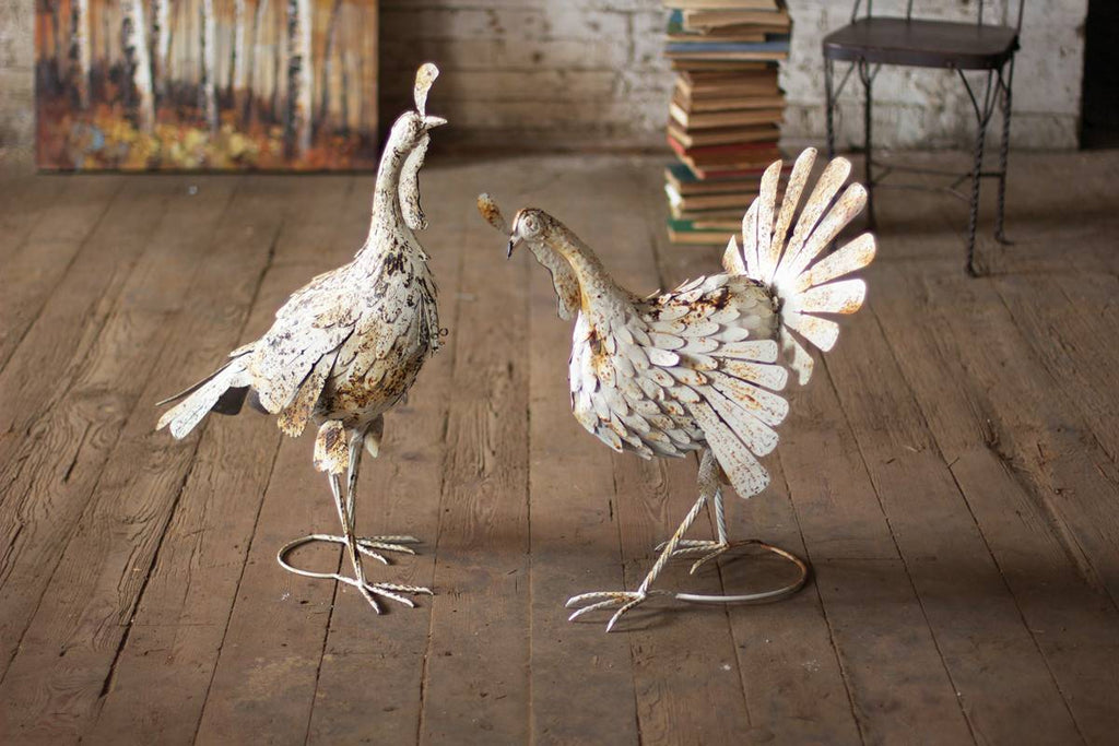 white metal turkeys with antique look