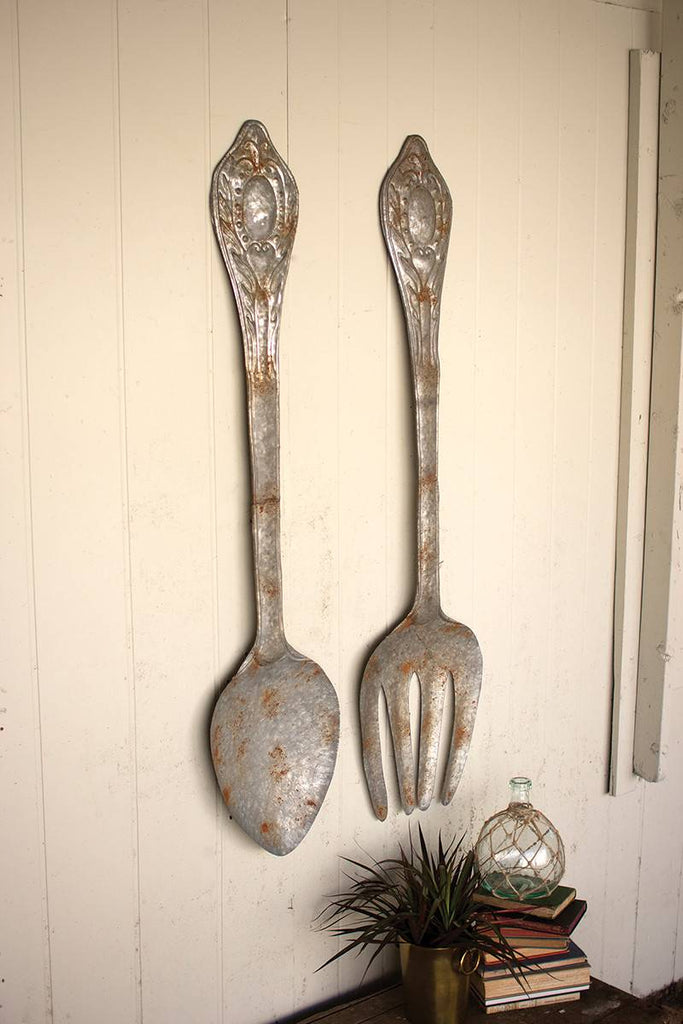 set of two large metal fork and spoon wall art