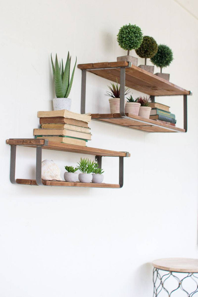 2 wood shelves with metal frame wall mounted