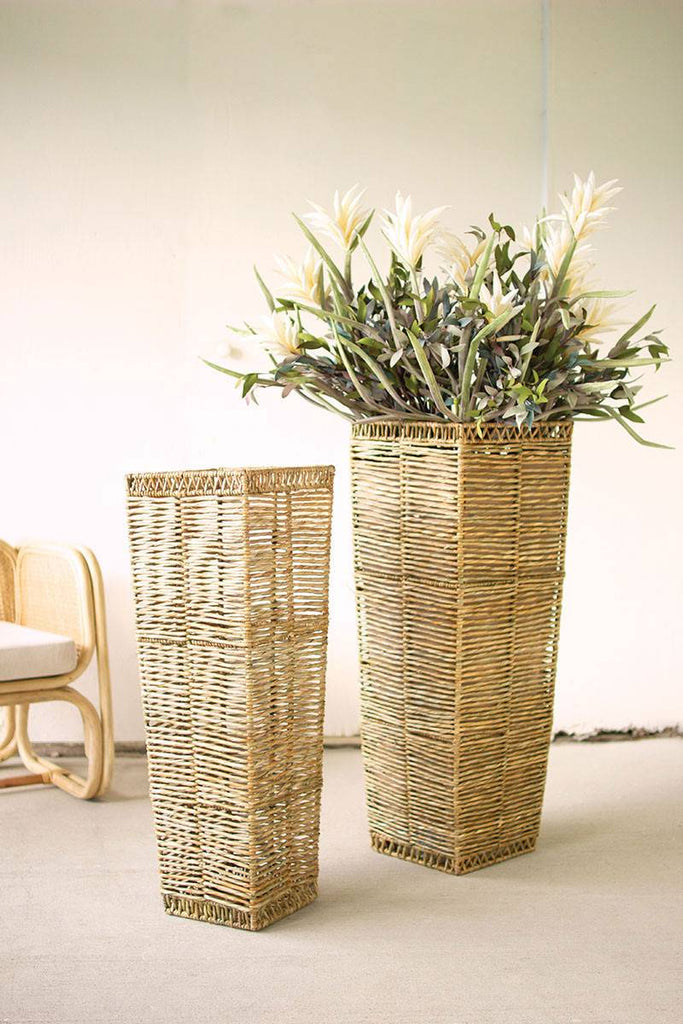 two tall tapered seagrass planters