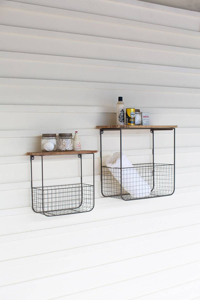 2 shelves with metal wire baskets for storage