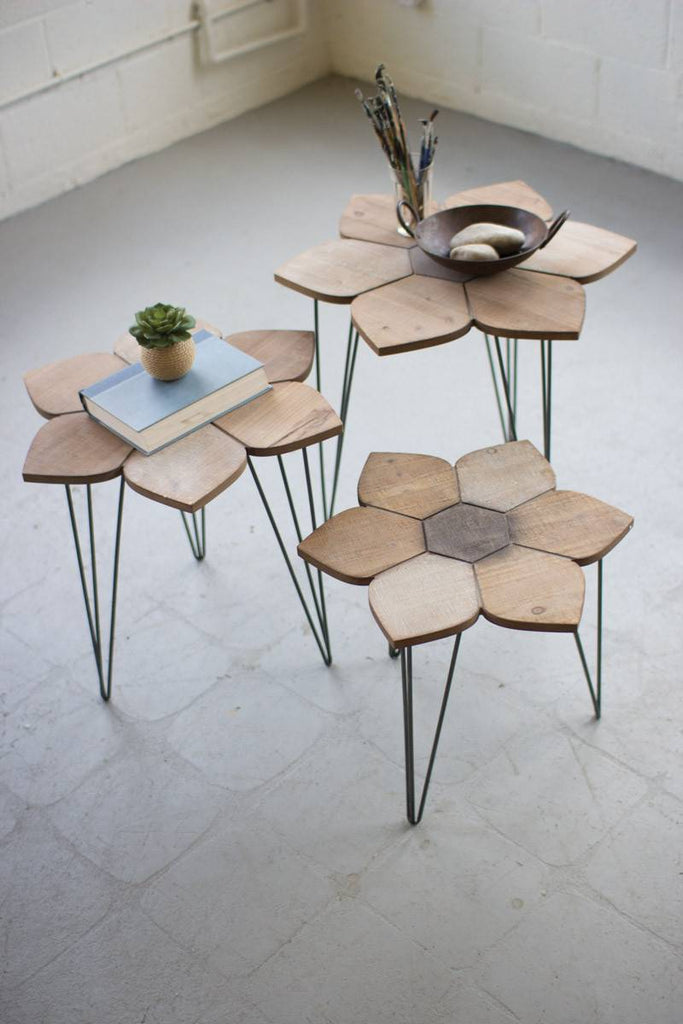 three flower shaped wood side tables