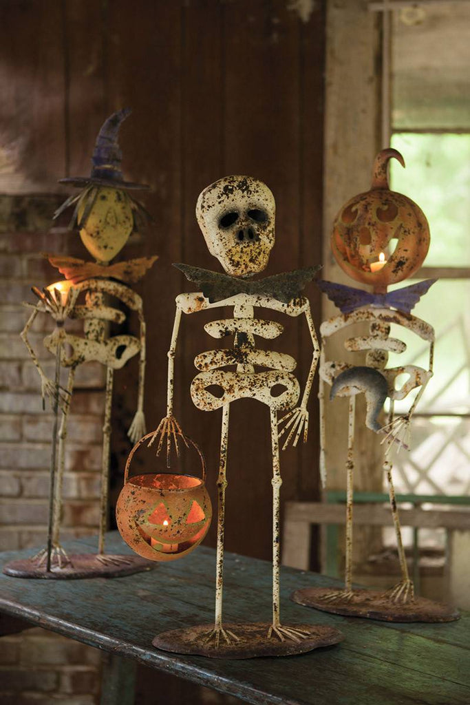 a witch a pumpkin man and a regular skeleton for halloween decor