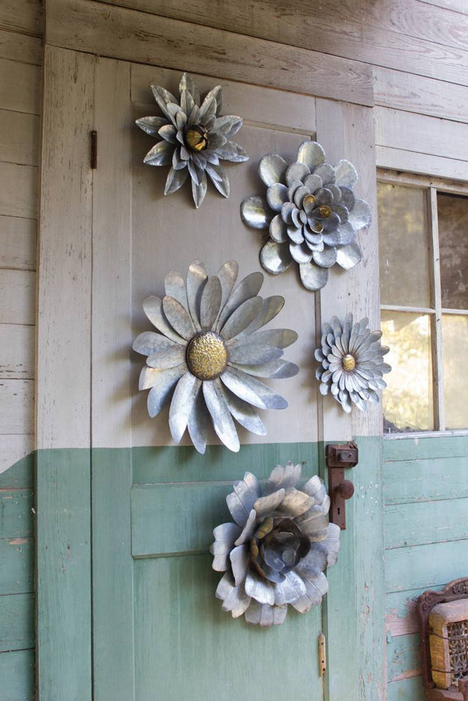 five galvanized metal wall flower art of different designs