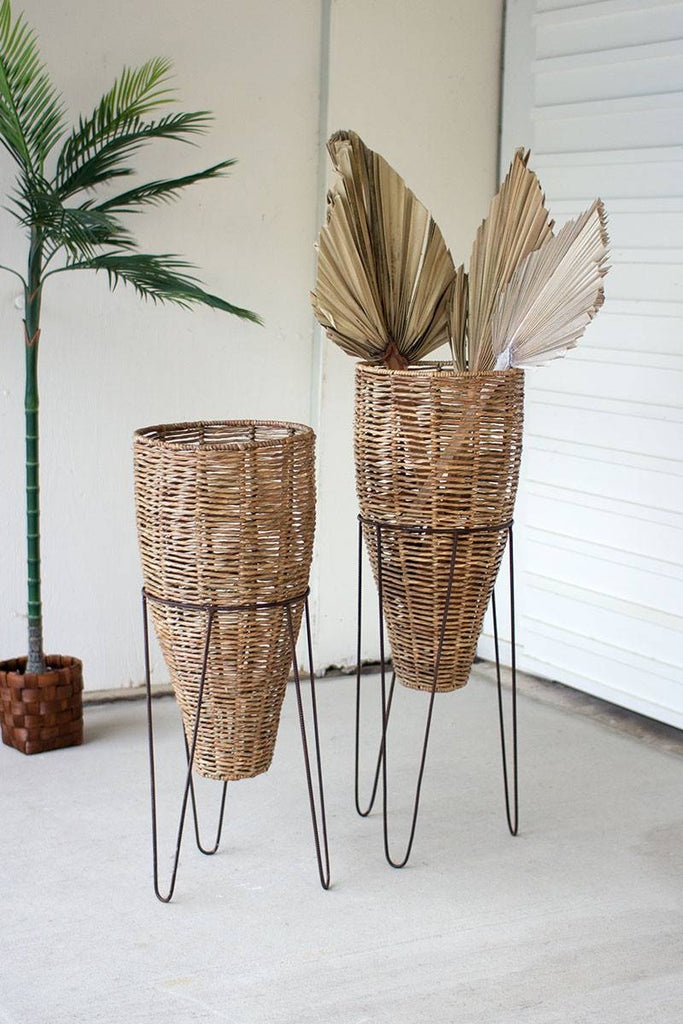 set of 2 seagrass conical planters in iron stands