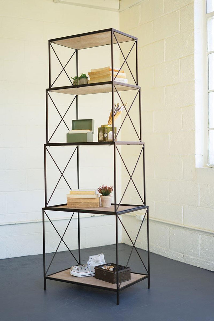 four tiered stackable shelving unit