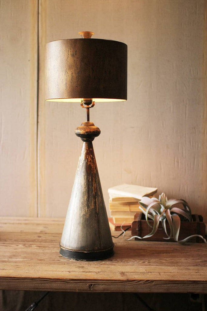 metal base and shade desk lamp