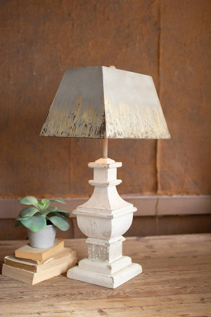 rectangular table lamp with painted wooden base