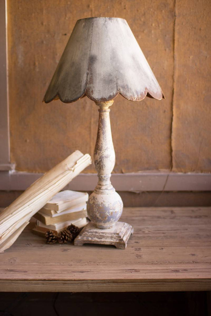 shabby chic table lamp with scalloped shade