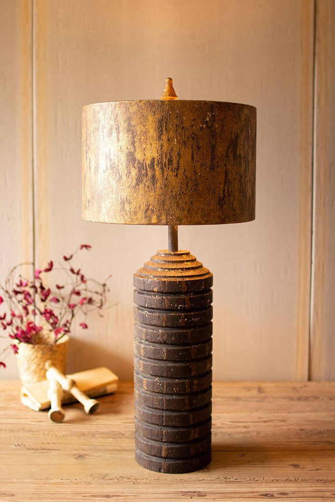 table lamp with wood base and antique gold metal shade