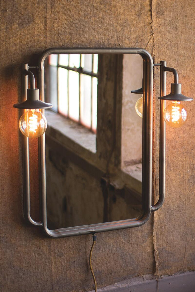 wall mirror with a light on each side