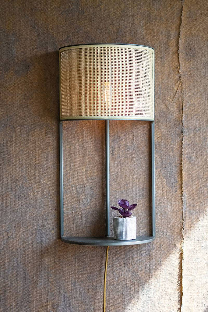 wall lamp with rattan shade and shelf