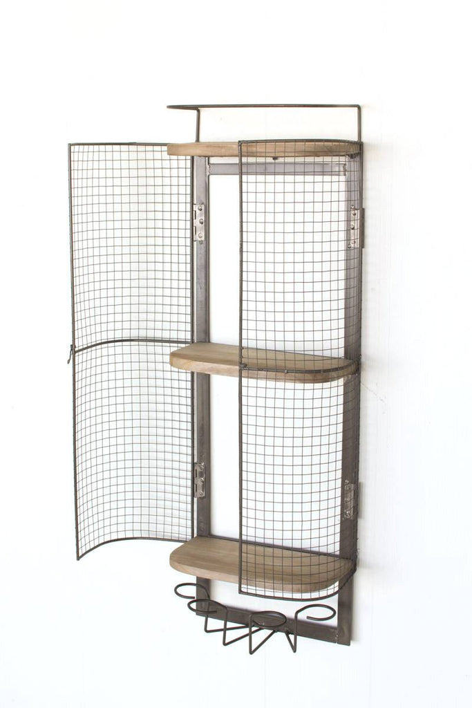 tall wall mounted minibar with mesh wire doors