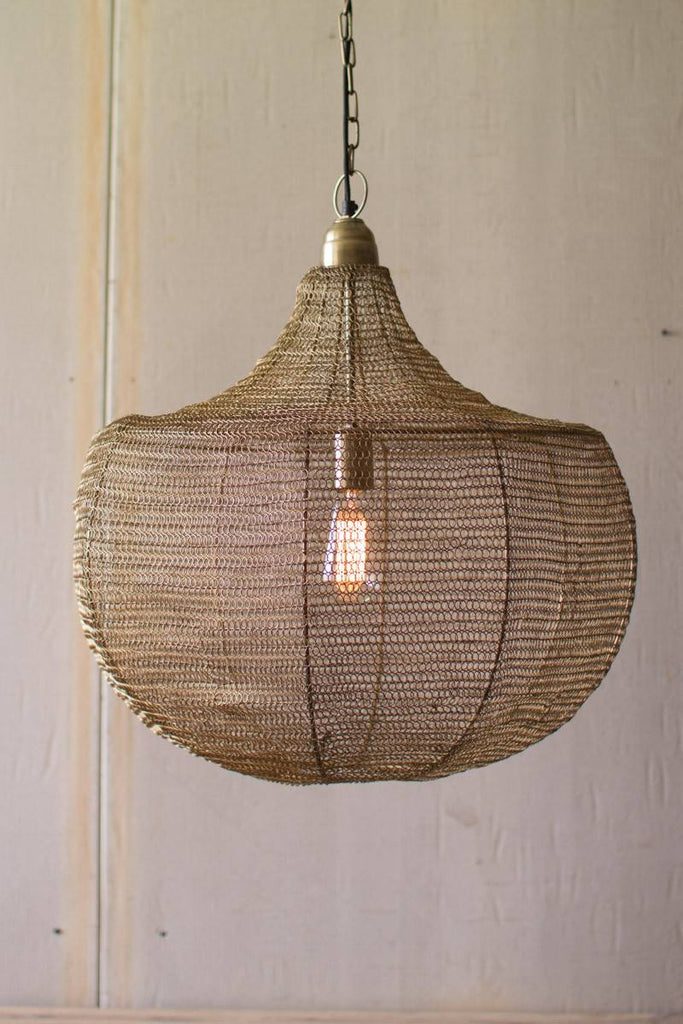 wire weave pendant light