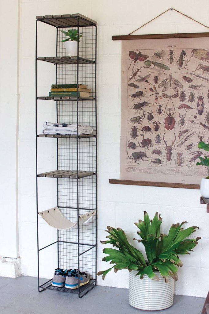 tall metal shelving rack with wood shelves and one canvas shelf