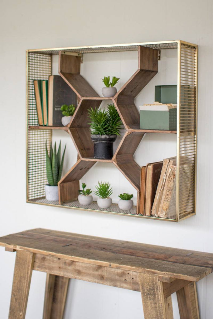 honey comb style wood shelves with brass finish wire frame