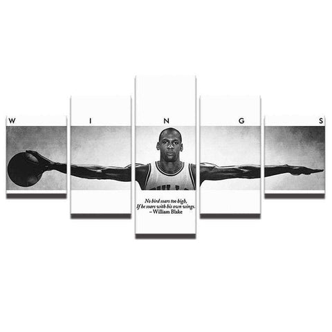 "5 Panel Jordan ""Wings"" Basketball Canvas Wall Art"