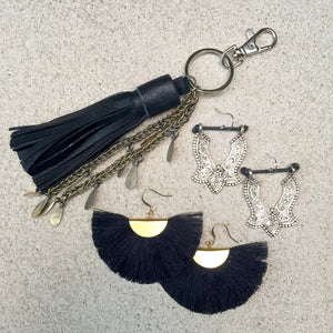 Earrings, Kerings, Leather Cuffs and Crystals by Kitty Kat