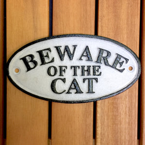 Beware Of The Cat Cast Iron Sign - KITTY KAT, Cat Sign