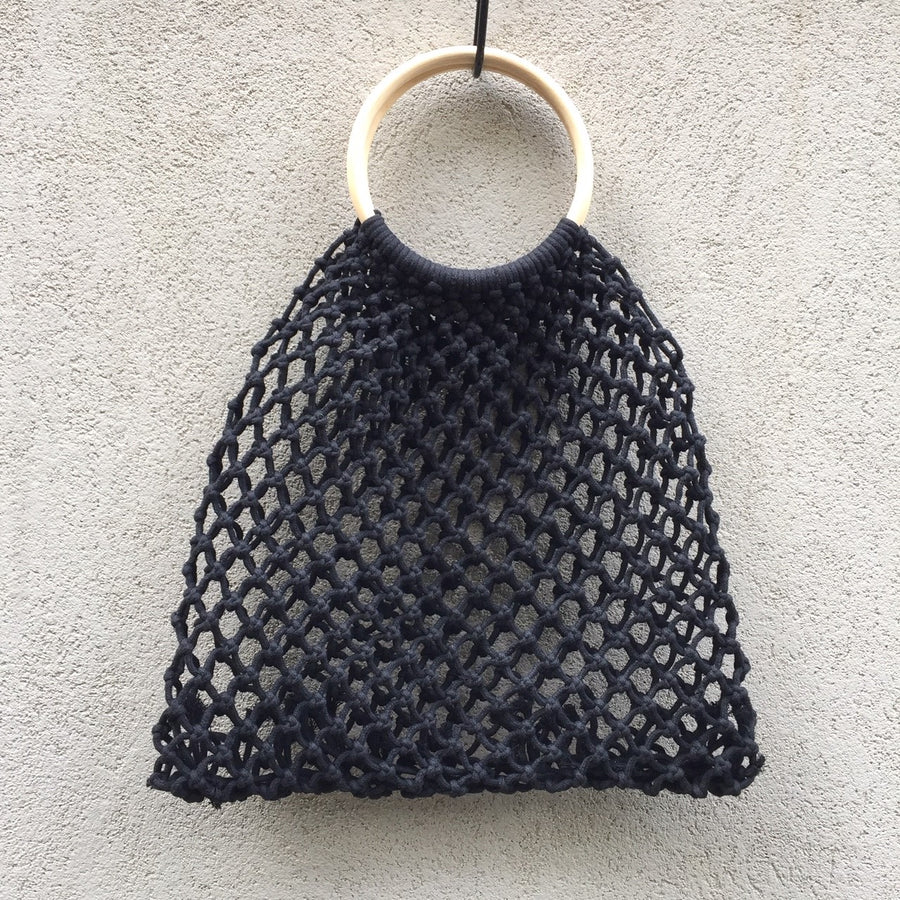 Larissa Woven Macrame Net Tote Bag - KITTY KAT