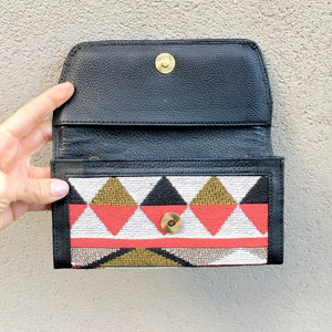 Apollonia Embroidered Bohemian Black Leather Wallets - KITTY KAT