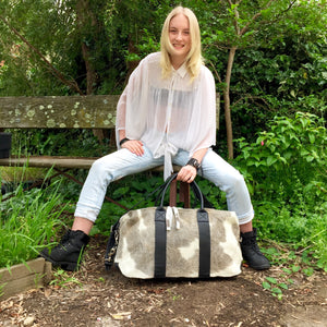 Hunter Cowhide and Leather Duffle Travel Bag -  Grey White Black Multi - KITTY KAT, Bag