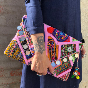 Nova Boho Banjara Pink Clutch Bag, Banjara Clutch bag - KITTY KAT,