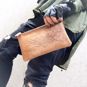 Lotus Flower Tan Cowhide and leather Clutch Pouch, Clutch - KITTY KAT,