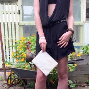 Drew Cowhide Clutch - White, Clutch Bag - KITTY KAT,