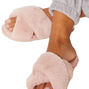 Evie Baby Pink Fluffy Slippers, Slippers - KITTY KAT,