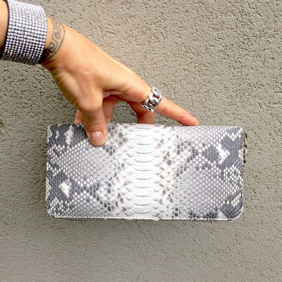 Sophia Python Snake Skin Leather Wallet - Natural, wallets - KITTY KAT,