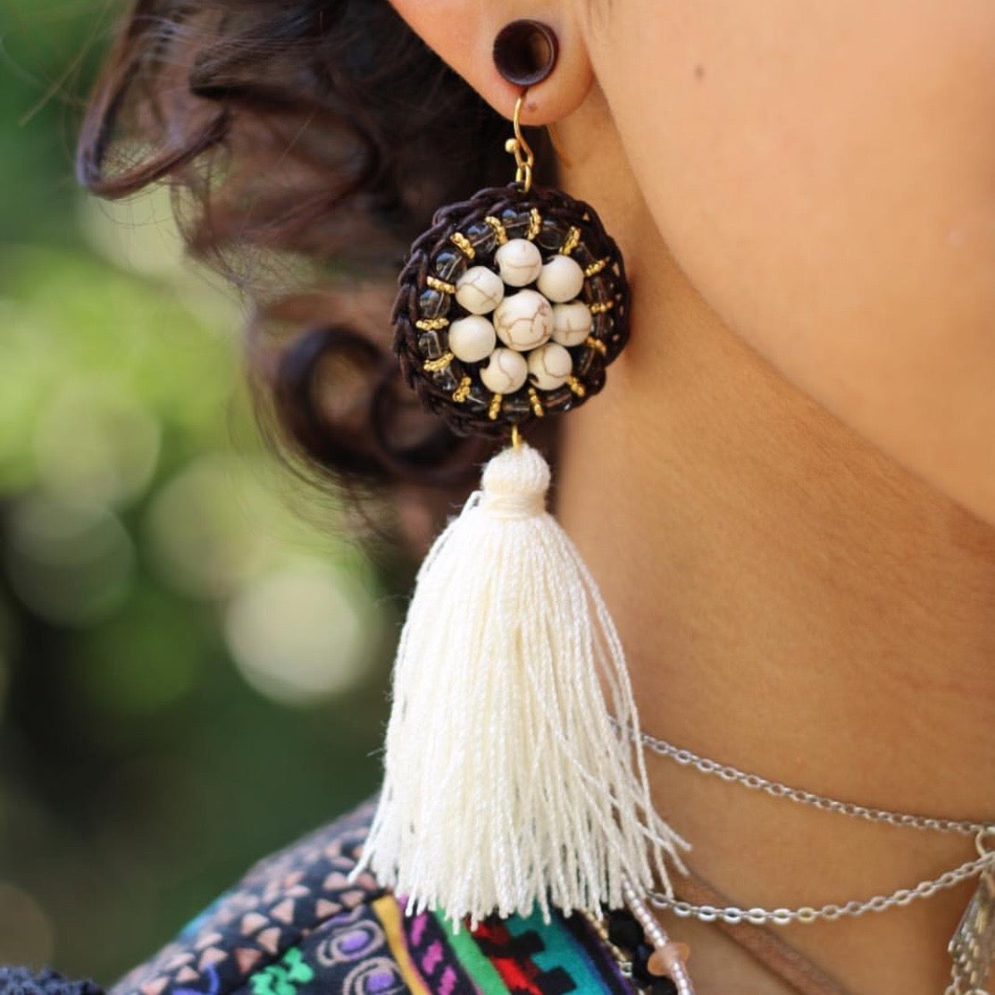 Ios White Tassel Drop Earrings, Earrings - KITTY KAT,