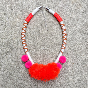 Rope Pom Pom Boho Choker - Orange Pink Tan, Necklace - KITTY KAT,