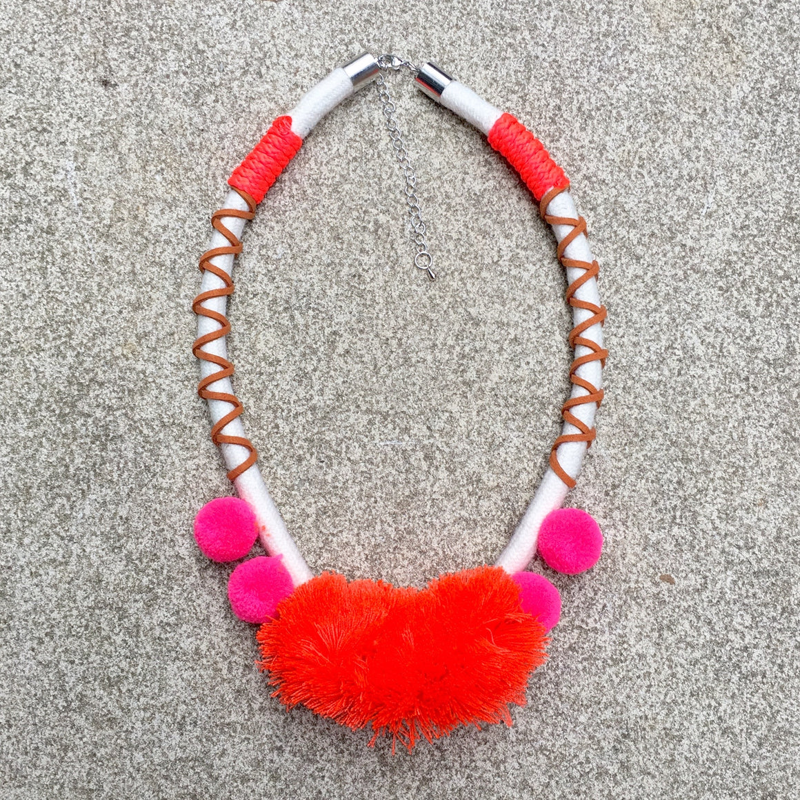 Rope Pom Pom Choker - Orange Pink Tan - KITTY KAT, Necklace