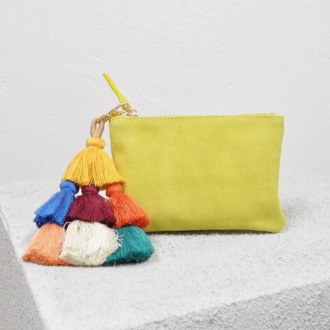 Barcelona Suede Clutch Pouch With Detachable Pom Pom Tassel, Clutch - KITTY KAT,
