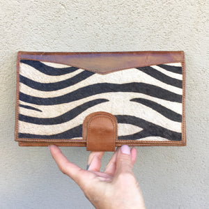 Dahlia Zebra Print Cowhide and Vintage Leather Clutch Wallet, wallets - KITTY KAT,