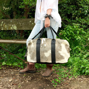Hunter Cowhide and Leather Duffel Travel Bag -  Grey White Black Multi, Bag - KITTY KAT,
