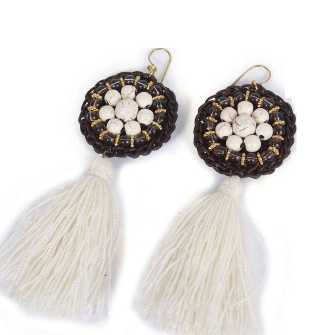 Ios White Tassel Drop Earrings