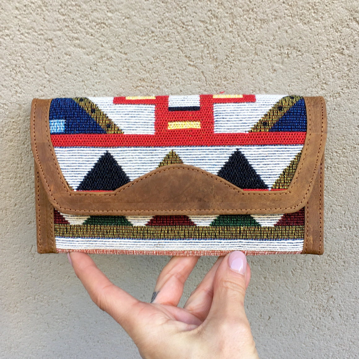 Apollonia Embroidered Aztec Bohemian Tan Leather Wallets, wallets - KITTY KAT,