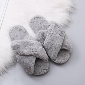 Evie Grey Fluffy Slippers, Slippers - KITTY KAT,