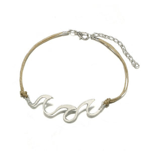 Luna Cowrie Shell & Wave White Gold Plated 2 Strand Anklet, Anklet - KITTY KAT,